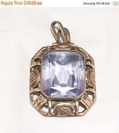 Aquamarine Pendant Silver Vermeil Edwardian Vintage by OurBoudoir
