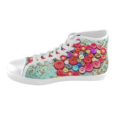 Personalized custom design  Vintage Rainbow Heart Women's High Top Canvas Shoes.