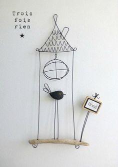 Piou fil de fer N° oiseau cage fil de fer, fil de fer, wire - Wireideas - Wire Crafts, Diy And Crafts, Arts And Crafts, Sculptures Sur Fil, Wire Ornaments, Origami Art, Wire Art, Pebble Art, Metal Art