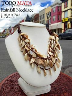 """Rainfall Necklace"" - Mother of Pearl - Adjustable - Handcrafted by Maria Pilar Morales - $68"