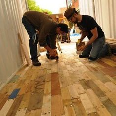recycled wood pallets. Taken apart, the boards can make a floor with great character. Rough hewn, they are perfect for a mudroom or porch. Once installed, a floor sander could give them a more even finish for indoor use.