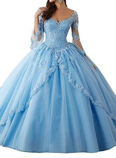 online shopping for Annadress Women's Long Sleeve Lace Quinceanera Dresses Train V-Neck Ball Gown from top store. See new offer for Annadress Women's Long Sleeve Lace Quinceanera Dresses Train V-Neck Ball Gown Sweet 16 Dresses, 15 Dresses, Ball Dresses, Pretty Dresses, Beautiful Dresses, Dresses Online, Fashion Dresses, Blue Ball Gowns, Ball Gowns Prom
