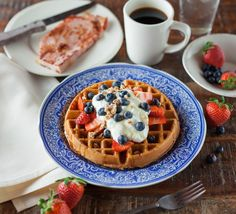 📸 Waffle Topped With Black Round Fruit and Strawberries - new photo at Avopix.com    🆓 https://avopix.com/photo/35981-waffle-topped-with-black-round-fruit-and-strawberries    #meal #food #plate #dinner #lunch #avopix #free #photos #public #domain