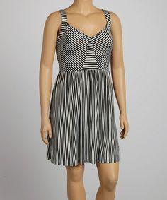 Black & White Stripe Sleeveless Dress - Plus #zulily #zulilyfinds