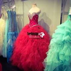 Wholesale 2017 Sweet 15 Dress New Red Real Fashion Beading Ruffles Organza Ball Gown Prom Quinceanera Dresses