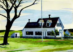 """Edward Hopper (Nyack, 1882 - New York, 1967) """"Dry tree and Side View of the Lombard House"""""""