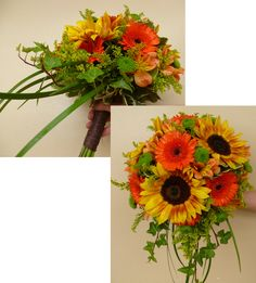 Cascade wedding bouquet with sunflowers gerbera daisies, green button mums alstromeria, ivy and lily grass.... stems wrapped in brown raffia. floral@kuhlmanns.com