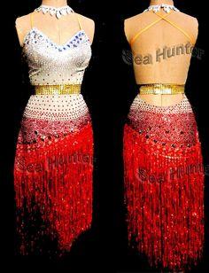 Competition Ballroom Latin Cha Cha Ramba Dance Dress US 6 UK 8 Same Color