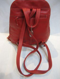 Vintage Tignanello Red Leather Backpack Daypack by CLASSYBAG