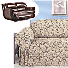 Reclining SOFA Slipcover Damask Chocolate Adapted for Dual Recliner Couch  sc 1 st  Pinterest & Reclining SOFA Slipcover Grey Suede / Gray Cover Adapted for Dual ... islam-shia.org