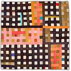 "'Orange-Black' art quilt by Eleanor McCain. One of the artist's ""The Thirteens Series"" (2007-11). 13 x 13 in. via the artist's site"
