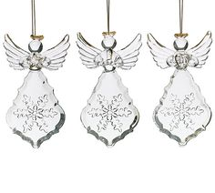 """#burtonandburton Assorted glass angel ornaments. One angel holds a candle, another holds a heart, and another holds a star. Comes in gift box.<br><br>3 1/2""""H X 2 1/2""""W X 1""""Dpth.<br>2 assortments of 3."""