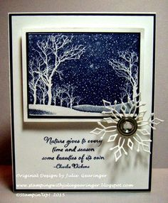 "Stamping with Julie Gearinger: CAS Christmas- Nature Gives to Every Time and Season- Stampin' Up! Beauty of the Season (sentiment) and Hero Arts ""Snowy Night"" with Night of Navy :-)"
