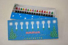 Alte Narva Lichterkette 16tlg. DDR Christbaumbeleuchtung Kerzen, bunt, OVP