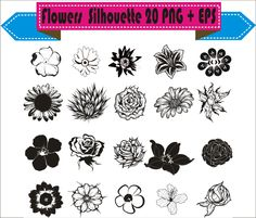 flowers floral motif shapes pack silhouette vector clipart png eps digital files scrapbook supplies instant download