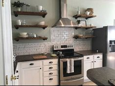 Open Kitchen Shelves Industrial Pipe Shelving Farmhouse Open
