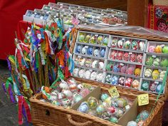 Easter in Prague. The hand painted eggshells and the whipping sticks- 2 staples of the holiday.