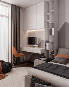 Penthouse Interior Design With Orange Accents home design Home Design, Room Interior Design, Home Office Design, Home Office Decor, Luxury Interior, Home Interior, Furniture Design, Design Ideas, Contemporary Interior