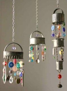 Windchimes made of old kitchen things - cookie cutters, biscuit cutters, spoons, with old buttons and beads thrown in....
