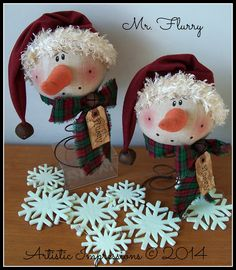 """WINTER NODDERS""     Winter Nodders are a bit smaller than Mr. Flurry.  They are crafted using rusty beehive bed springs.  Each nodder wea..."