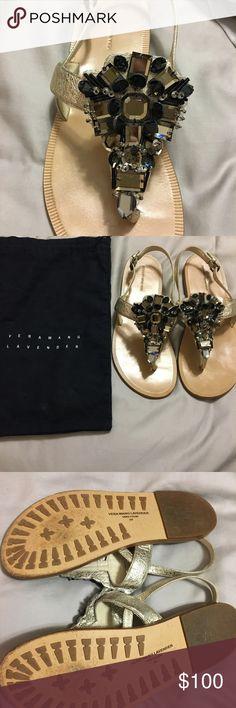 Vera wang lavender metallic thong sandals size 7 Vera wang lavender size 7 crystal- coated metallic leather thong sandals. Perfect condition! Vera Wang Lavender Label Shoes Sandals