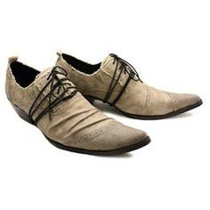 Mens Khaki Leather Pointy Retro Vintage Western Cowboy Heels Shoes SKU-1100259