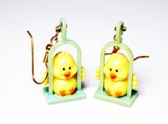 Easter Chick Plastic Lucite Earrings - Dangling Swing Ducks Pierced Earrings - Wire Fish Hooks Yellow Ducky Jewelry - Vintage Pre 1998 #etsy #etsyseller #fashion #vintage #jewelry