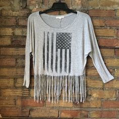 Boho Chic Fringe Cotton USA flag belly shirt So soft! Faded condition! So cute with high waisted shorts! Forever 21 Tops