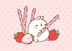 Its a version of Pocky sticks! Pusheen Wallpaper, Wallpaper Kawaii, Cute Girl Wallpaper, Cute Wallpaper For Phone, Wallpaper Pc, Cute Wallpaper Backgrounds, Trendy Wallpaper, Wallpaper Iphone Liebe, Wallpaper Iphone Disney