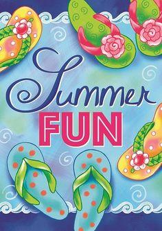 f81df6261 Custom Decor Flag - Summer Fun Flops Decorative Flag at Garden House Flags