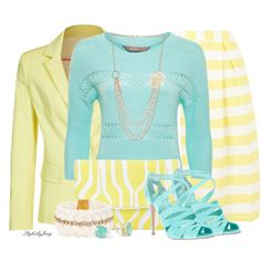 Summer Aqua n Yellow #2 by stylesbyjoey on Polyvore