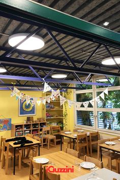 Interesting combination between the elegance of Isola and a rough industrial ceiling at the nursery school Gerbeweg in St. Gallen, Switzerland. Nursery School, Switzerland, Industrial, Ceiling, Home Decor, Ceilings, Decoration Home, Room Decor, Industrial Music