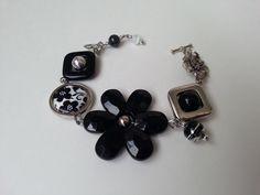 """""""Bracelet asymétrique noir"""", """"Bracelet gourmette"""", Bijou noir"""