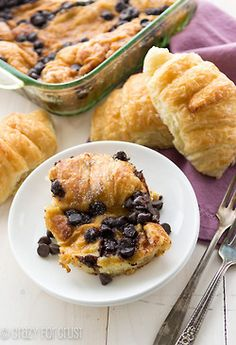 Baked chocolate croissant french toast