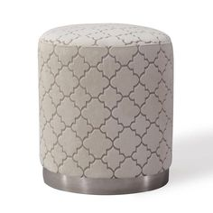 Description Moroccan influences, contemporary patterns, and brushed metal make for one perfectly stylish piece. Our Opal ottomans are a new fave. Use one or bunch them together to create a luxe vibe in any room Features Handmade by skilled furniture craftsmen Gold stainless steel base Sumptuous velvet with chevron patt