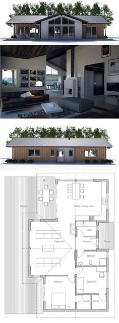 Small house plan with two bedrooms, open planning, vaulted ceiling, covered terrace. Small home design with affordable building budget. Floor plan from ConceptHome.com