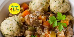 This wonderfully tasty beef casserole is topped with fluffy dumplings. Great for a chilly evening!