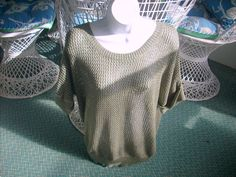CHICOS Olive TOP Pullover Loose CHUNKY SLINKY Knit Scoop Neck Size 2 Large #Chicos #SlinkyChunkyKnit #Casual