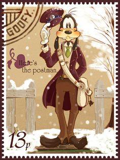 Goofy stamp<<<So Kawaii ^_^ Walt Disney, Goofy Disney, Disney Love, Disney Magic, Disney Pixar, Disney Dream, Disney Posters, Disney Cartoons, Pinturas Disney