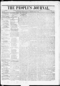 POTTER COUNTY - COUDERSPORT - About The people's journal. (Coudersport, Pa.) 1850-1857 « Chronicling America « Library of Congress