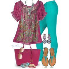"""Turquoise Jeans"" by tufootballmom on Polyvore"