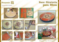 """¡Les presentamos el proyecto 51!    Se trata de una base giratoria para la mesa, que hicimos utilizando la técnica de Contracolado Artístico, dándole un toque muy """"Vintage"""".    A continuación les presentamos todo lo que necesitan para hacer una igual. Como tip, todo el material que necesitan lo pueden encontrar en Lumen."""