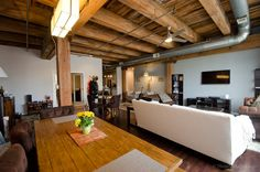 Timber beams in an authentic West Loop Chicago Loft for sale. http://www.bestchicagoproperties.com/featured-posts/for-sale-west-loop-3-bedroom-2-bath-brick-and-timber-loft-595000/