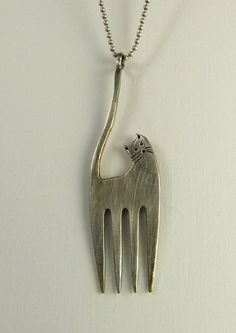cat fork necklace | Cat Fork... Up cycled fork, up cycled sterling silver Silverware ...