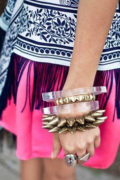 oh so much detail. studded bracelet, fringe, pattern!