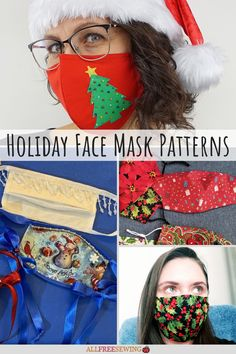Free Holiday Face Mask Patterns #sewfacemasks #diychristmasfacemasks Easy Christmas Crafts, Christmas Fabric, Simple Christmas, Diy Mask, Diy Face Mask, Face Masks, Ruffle Apron, All Free Crochet, Favorite Holiday