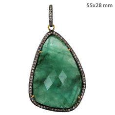 Sterling 925 Silver Emerald Gemstone Diamond Studded Pendant Vintage Jewelry NEW #Handmade