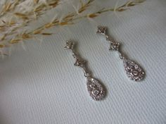 Bridal Earrings  Pave Diamond Look Day by UniqueJewelryLLC on Etsy