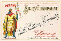 Antigua etiqueta de la sidra champagne PELAYO, de Villaviciosa