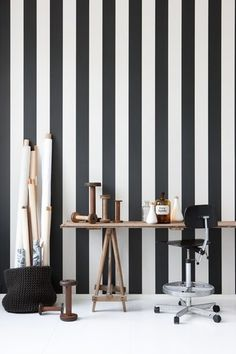 Add drama to your space with black and white striped wallpaper from Lillywhites.com.au